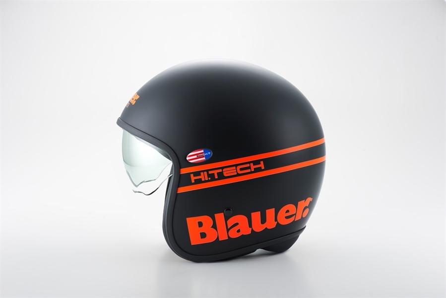 Casque Jet Blauer Pilot Noir Orange Fluo Blauer Casques Jet