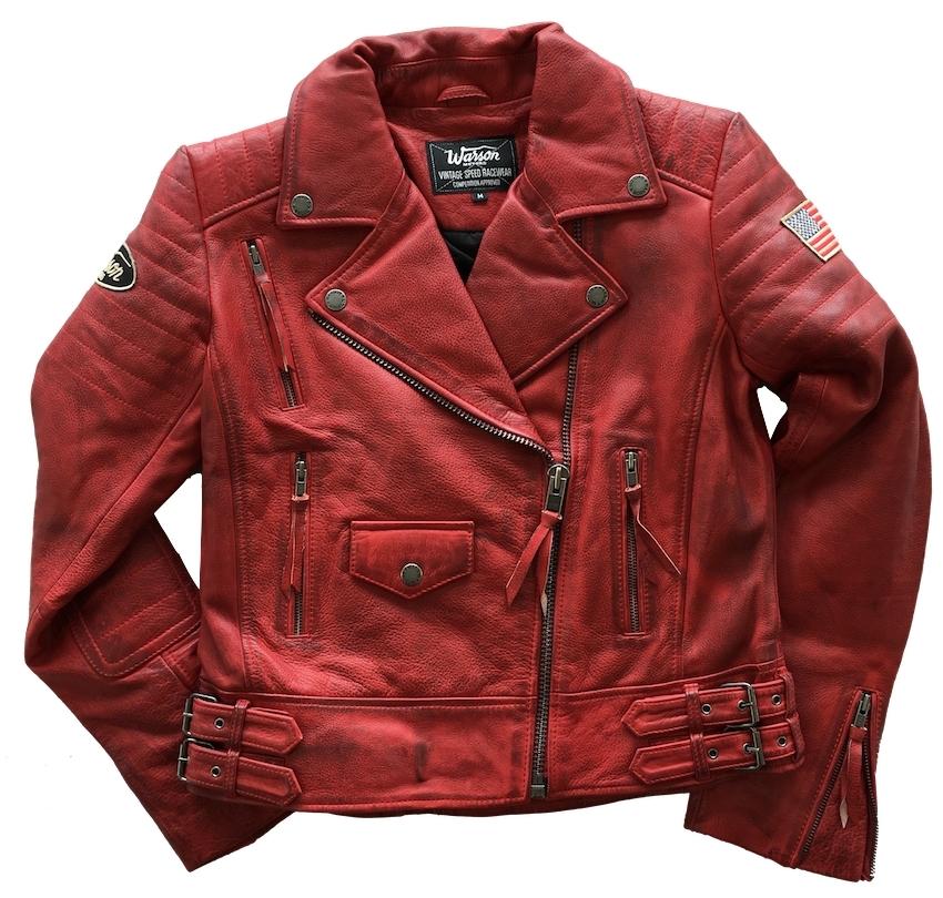 en soldes mignonne fabrication habile Blouson Warson Motors Cuir Police Perfecto Rouge
