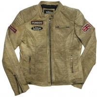 Blouson Cuir Femme Warson Motors Grand prix Jungle Tan