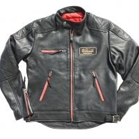 Blouson cuir Warson Motors Motorcycle Leather Black/zip Red