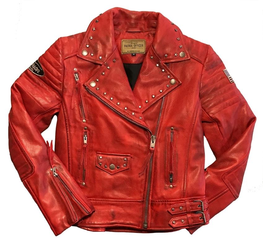 Blouson Motors Rouge Warson Cuir Perfecto Vestes 77qOZHw