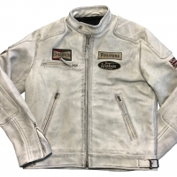 Blouson cuir Warson Motors Motorcycle Leather Smoke White