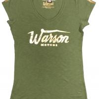 Tee-shirt femme Warson Motors BasicGold Col V Kaki