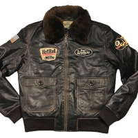 Blouson Warson Motors Cuir G1 Hot Rod Marron Rub Off
