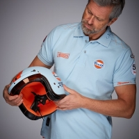 Casque Jet Gulf Mat vintage racing oil