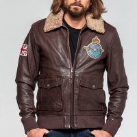 Blouson cuir Classic Legend Motors Royal Air Force Britten Marron