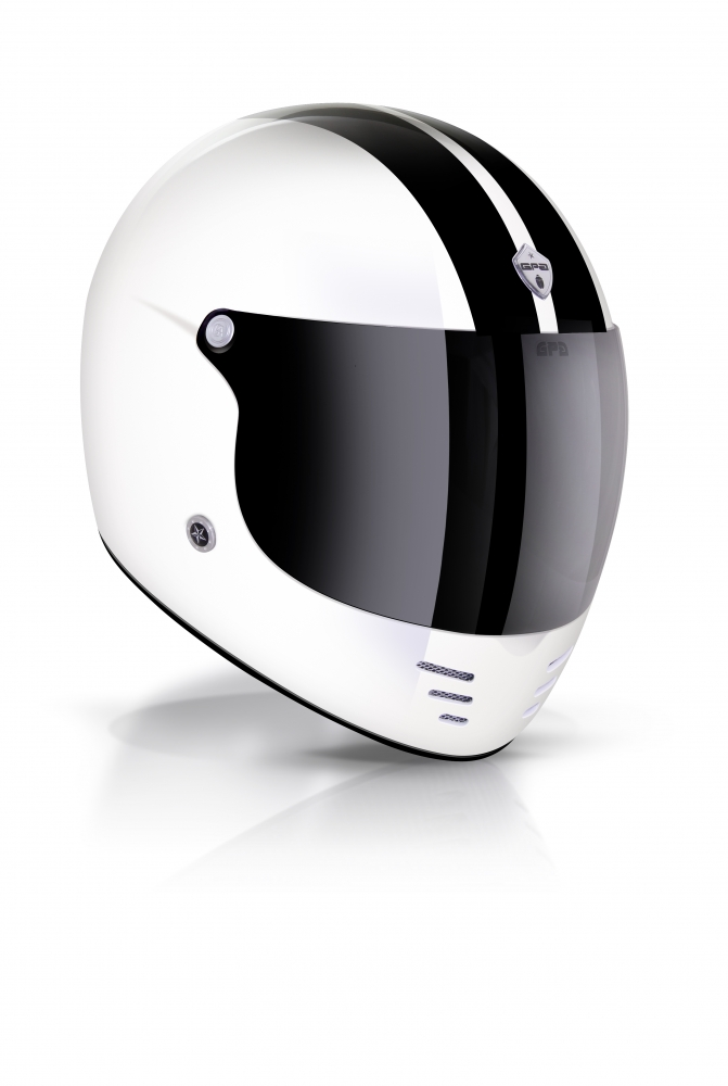 Casque Gpa Intégral Pure Stripe Blanc Brillant Noir Gpa Casques