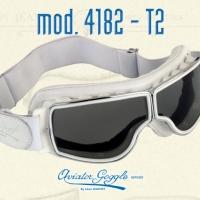 Lunette Aviator Goggle 4182 T2 cuir blanc verre incolore ou fumée