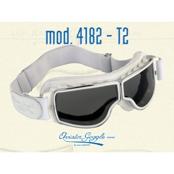 Lunette Aviator Goggle 4182 T2 cuir blanc verre incolore ou fumée ... e90b3407a480