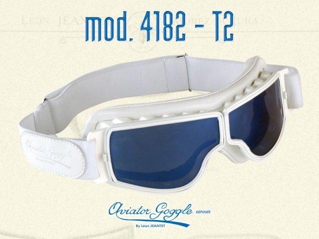 4dab439241e Lunette Aviator Goggle 4182 T2 cuir blanc verre miroir ou bleu ...