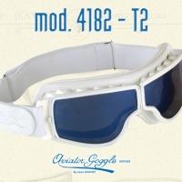 Lunette Aviator Goggle 4182 T2 cuir blanc verre miroir ou bleu