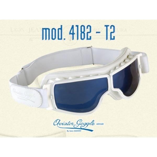 Lunette Aviator Goggle 4182 T2 cuir blanc verre miroir ou bleu ... e4b6bc58deb4