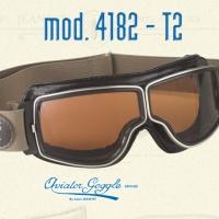 Lunette Aviator Goggle 4182 T2 marron vieilli verre incolore, fumé ou jaune