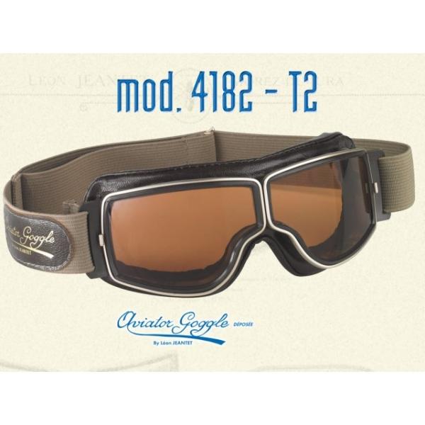 49df5b4af32 Lunette Aviator Goggle 4182 T2 marron vieilli verre incolore