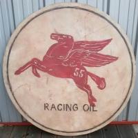 Enseigne Bois Racing Oil Mobiloil