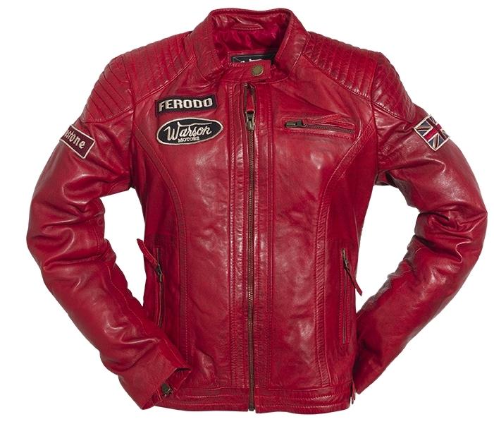 blouson cuir femme warson motors grand prix rouge warson vestes blousons femme. Black Bedroom Furniture Sets. Home Design Ideas