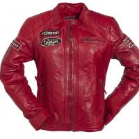 Blouson Cuir Femme Warson Motors Grand prix Rouge
