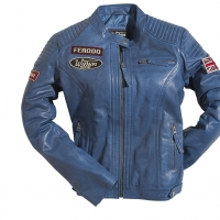 Blouson Warson Motors Cuir Femme Grand Prix Bleu