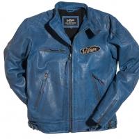 Blouson Warson Motors Motorcycle cuir bleu