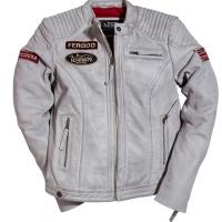 Blouson Warson Motors Cuir Femme Grand Prix Smoke Grey