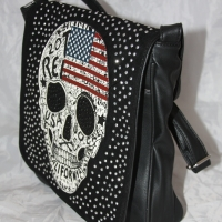 Sac Besace Skull USA Noir